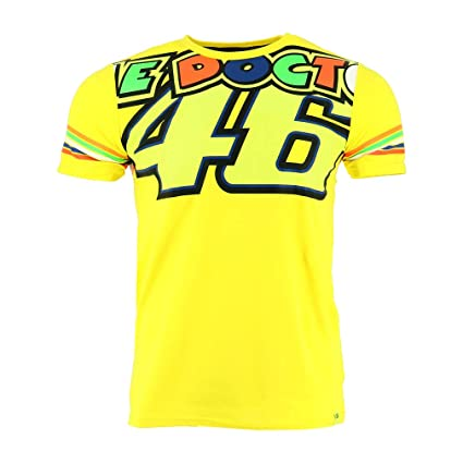 36b26199 Valentino Rossi VR46 Moto GP The Doctor Stripes Yellow T-shirt Official 2018