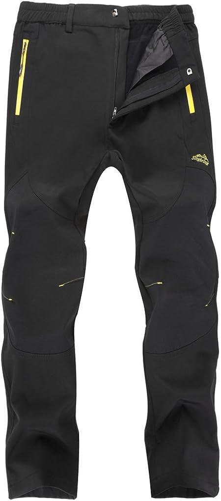 Singbring Outdoor Fleece Lined Windproof Hiking Pants Waterproof Ski Pants for Men Women