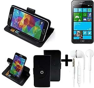 TOP SET: 360° Funda Smartphone para Samsung Ativ S, negro + Auriculares | Función de stand Caso Monedero BookStyle mejor precio, mejor funcionamiento - K-S-Trade | Funda Universal Caso Monedero cubierta del tirón Monedero Monedero