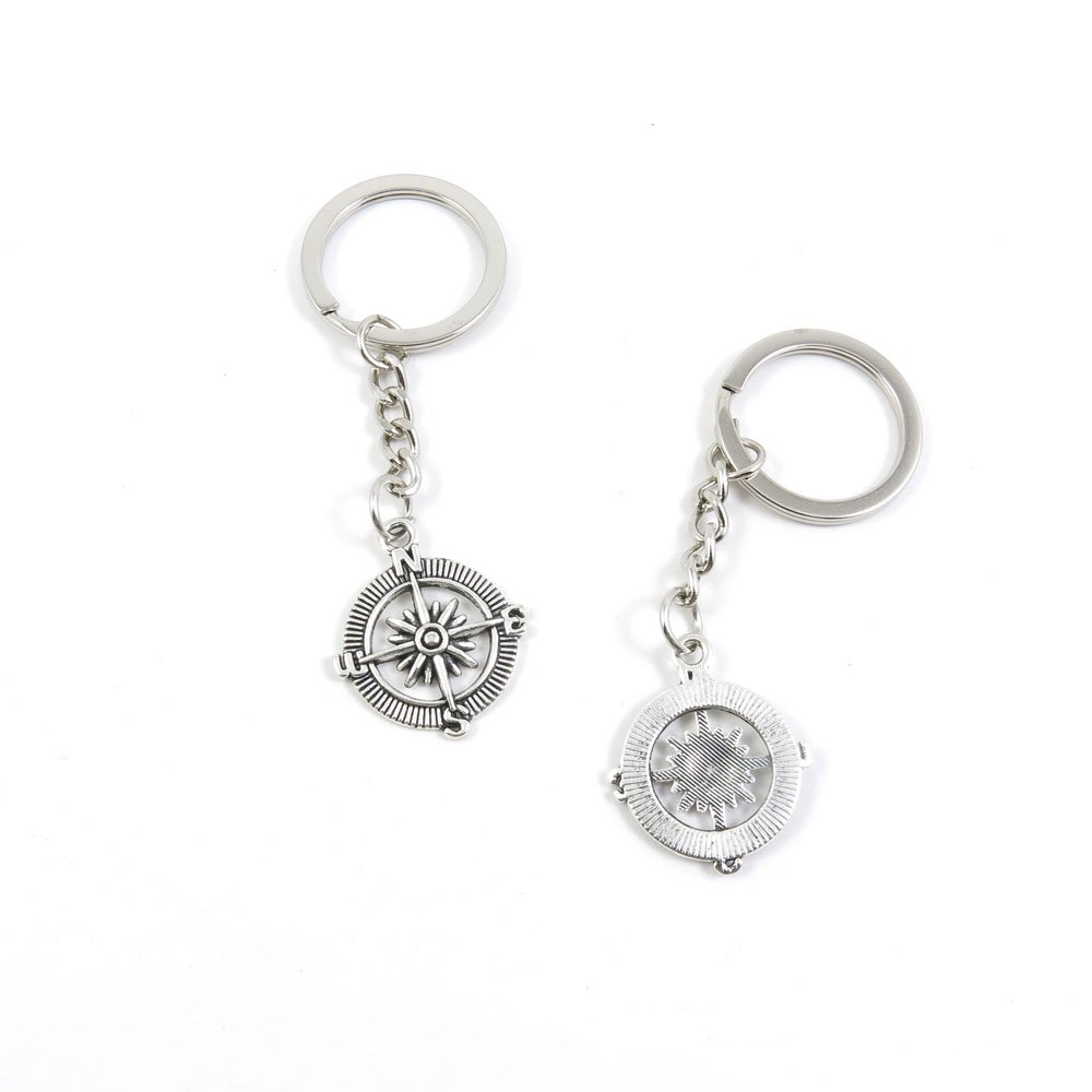 100 Pieces Keychain Door Car Key Chain Tags Keyring Ring Chain Keychain Supplies Antique Silver Tone Wholesale Bulk Lots F3RA1 Compass