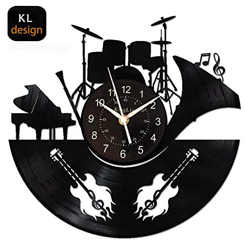 KingLive Music Instrument Black Wall Clock 12 Inches(30cm) Home Decor Guitar Drums Wall Art for Music Lovers (Music C) (Drum Wall)