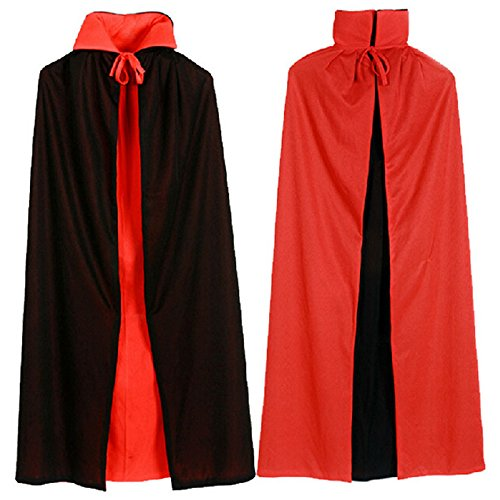 [Halloween Cloak - Unisex Cape for Halloween Party/Cosplay - 140cm/55.12inches Cape without Hood (Red-Black) …] (Plus Size Premier Witch Costumes)