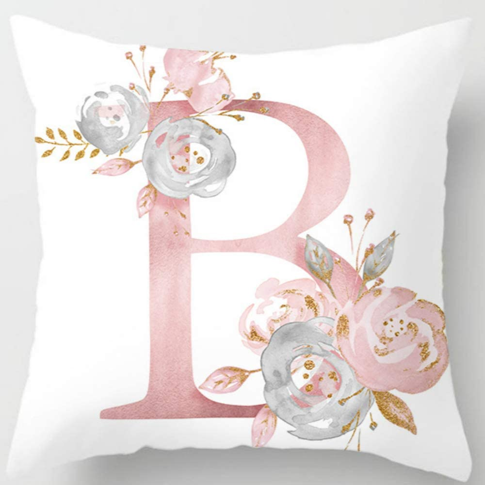 Eanpet Throw Pillow Covers Alphabet Decorative Pillow Cases ABC Letter Flowers Cushion Covers 18 x 18 Inch Square Pillow Protectors for Sofa Couch Bedroom Car Chair Home Decor (B)