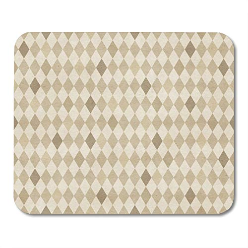 Boszina Mouse Pads Twill Beige Coffee Retro Harlequin Pattern on Vintage Colorful Argyle Abstract Mouse Pad for notebooks,Desktop Computers mats 9.5
