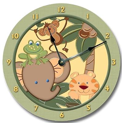 "BABY JUNGLE animals safari wall art clock nursery large 10 1/2"""