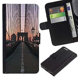 Puente de la salida del sol Vista de la ciudad- la tarjeta de Crédito Slots PU Funda de cuero Monedero caso cubierta de piel Para Apple (5.5 inches!!!) iPhone 6+ Plus / 6S+ Plus