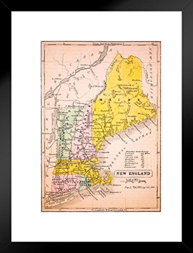 (Poster Foundry New England States 1852 Vintage Antique Style Map Matted Framed Wall Art Print 20x26 inch)