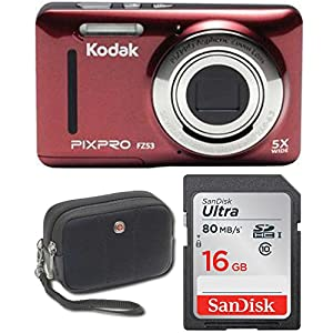 "Kodak FZ53 Point and Shoot Digital Camera with 2.7"" LCD, Red+ Sandisk Ultra 16GB & Wenger Camera Case Bundle"