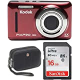 Kodak FZ53 Point and Shoot Digital Camera with 2.7 LCD, Red+ Sandisk Ultra 16GB & Wenger Camera Case Bundle