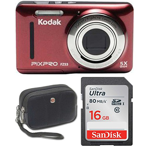 Kodak FZ53 Point and Shoot Digital Camera with 2.7″ LCD, Red+ Sandisk Ultra 16GB & Wenger Camera Case Bundle