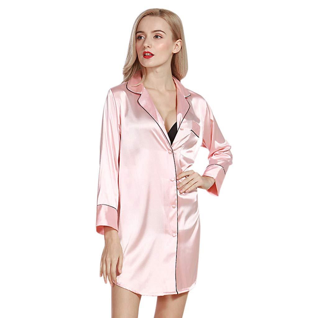 Alalaso Womens sexy satin pajamas ladies print Nightgown short-sleeved nightdress