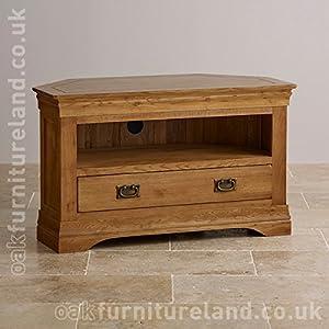 French Farmhouse Rustic Solid Oak Corner TV Cabinet: Amazon.co.uk ...