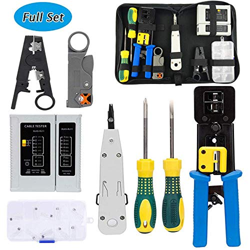 POLIFE Network Tool Kit Set, Cable Tester Repair Tools Wire Stripping Cutter, Coax Crimper Plug Crimping, Punch Down RJ11 RJ45 Cat5 Cat6 Wire Detector Stripper, Good for Testing Internet (Full - Punch 110 Down Tool