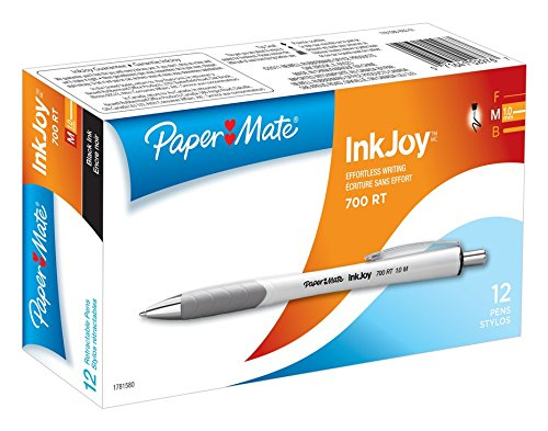 Paper Mate InkJoy 700RT Retractable Ballpoint Pens, Medium Point, White Barrel, Black Ink, 12-Count