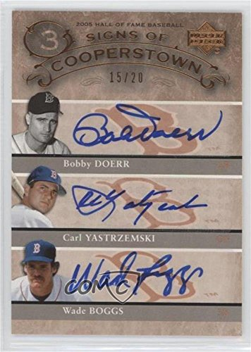 (Carl Yastrzemski; Bobby Doerr; Wade Boggs #15/20 (Baseball Card) 2005 Upper Deck Hall of Fame - Signs of Cooperstown Triple - Autographs [Autographed] #DYB)
