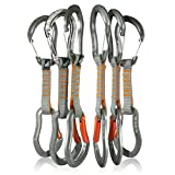 Fusion Climb 6-Pack 11cm Quickdraw Set with Techno Zoom Gray Wire Gate Carabiner/Techno Zoom Orange Bent Gate Carabiner