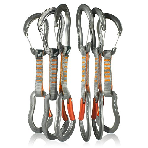 Fusion Climb 6-Pack 11cm Quickdraw Set with Techno Zoom Gray Wire Gate Carabiner/Techno Zoom Orange Bent Gate Carabiner by Fusion Climb
