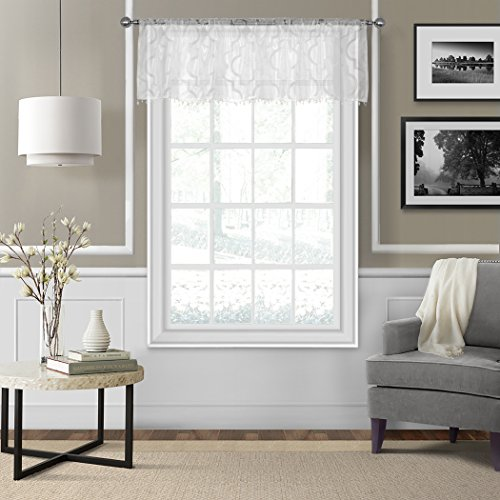Elrene Home Fashions 21195WHT Elrene Montego Sheer Beaded Window Valance, 52