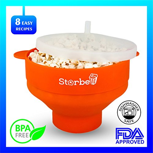 Microwave Popcorn Popper - Safe and Noiseless - Easy To Use And Storage - Compact Size - Cool-Touch Handles - Best For Microwave - Enjoy Healthy ()