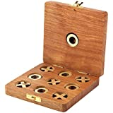 Wooden Tic Tac Toe Game Box with Storage for Wooden Naughts and Crosses Holiday Travel Board Game for Kids Adults