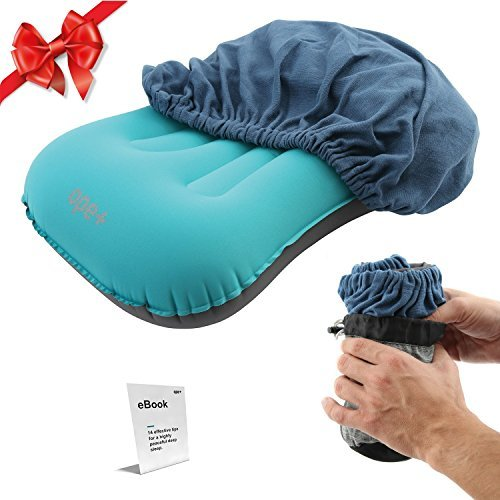 OpePlus Inflatable Camping Pillow Set - Camp, Travel, Backpacking Ultralight and Hiking Blow Up Pillow with Outdoor Soft Cotton Cover for Sleeping - Also Suitable as Lumbar Support