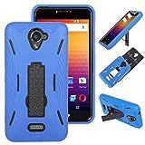 BLU R1 Plus 4G LTE (R0071UU) Unlocked Kickstand Cellphone Case Premium Rugged Tough [Hybrid Dual Layer][Heavy Duty Protection][Kickstand] Case Cover (HD Blue on Black)