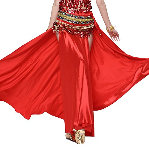 [Belly Dance Skirt Dual Split Satin Skirt Dancing Dress Belly Dance Costume Red] (Dance Fans Costumes Accessories)