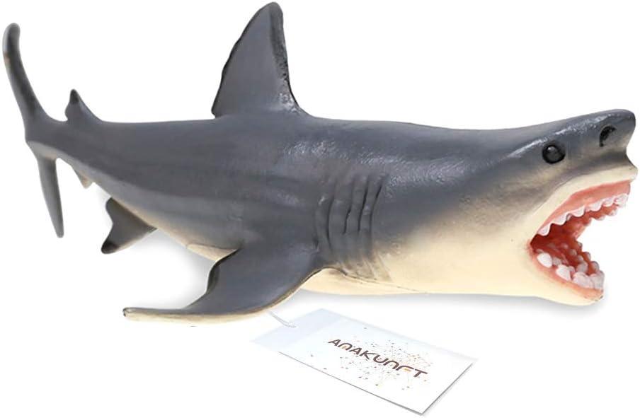 Amakunft Megalodon - Adorno para Acuario, diseño de tiburón, Resina Duradera, Seguro para Todos los Peces y Mascotas acuáticas, Juguetes Meg para niños y decoración del hogar