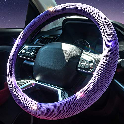 Valleycomfy Steering Wheel Cover for Women Bling Bling Crystal Diamond Sparkling Car SUV Wheel Protector Universal Fit 15 Inch (Purple Diamond)