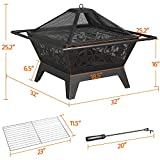 Yaheetech Fire Pit 32'' Iron Fire Pit Outdoor Patio