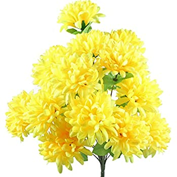 Artificial yellow flowers images flower decoration ideas amazon gtidea 18 heads artificial fake mums silk autume flowers gtidea 18 heads artificial fake mums mightylinksfo