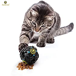 "Fun & Entertaining Food Dispenser Ball for Cats by SunGrow (4"") - Physically and Mentally Stimulating: Non-Toxic, Easy to Clean, Lightweight Cat Toy : Promotes Healthy Teeth and Gums"