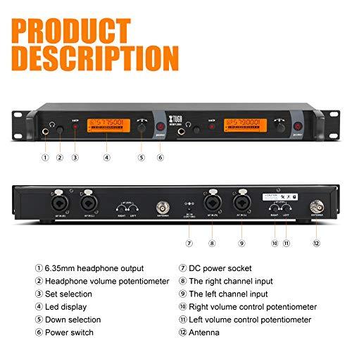 IEM1200 Sistema de monitor de oído inalámbrico de 2 canales 2/4 Monitoreo de cuerpo con auricular Tipo inalámbrico utilizado para escenario o estudio (2 paquetes de cuerpo)