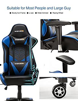 WENSIX Gaming Office Chair Racing Style High-Back Swivel Chair PU Leather Chair Executive and Ergonomic Computer Desk Chair with Lumbar Support and Headrest Pillow Blue-003