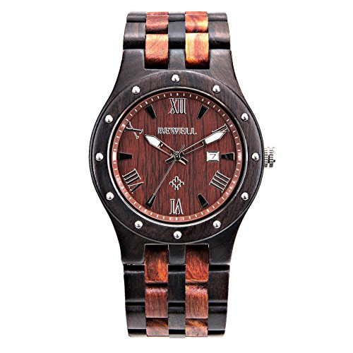 Bewell ZS-W109A Mens Wooden Watch Quartz Movement Lightweight Luminous Date Vintage Analog Wristwatch