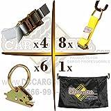 """E-Track TieDown Kit! FOUR 2""""x16' Ratchet Straps, EIGHT Ti..."""