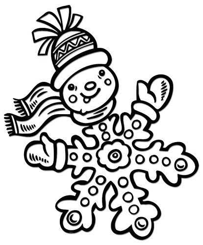 Snowman Snowflake Vinyl Decal Sticker For Vehicle Car Truck Window Bumper Wall Decor - [6 inch/15 cm Tall] - Matte BLACK Color ()
