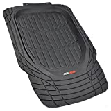 Motor Trend Tortoise Series Rubber Floor Mats Front Seat Protection Rubber Mat (2PC Black)