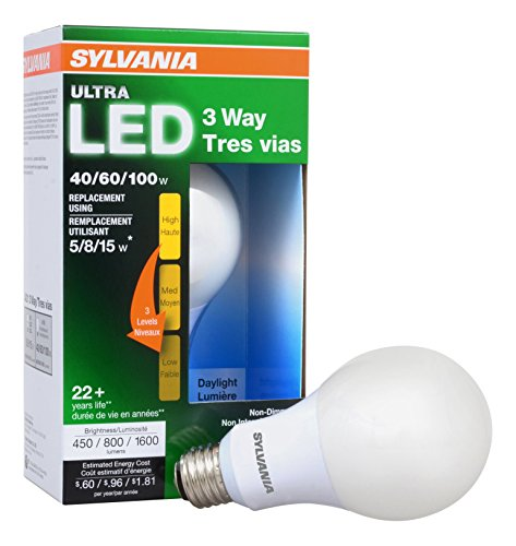A21 Medium Base 3 Way - SYLVANIA ULTRA 3-WAY LED Light Bulb 40/60/100W Replacement, Daylight 5000K, 25,000 hour life - A21, Medium Base, 74086 - Energy Star (4.5/8.5/15W)