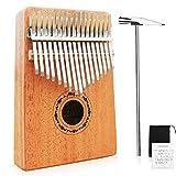 Mugig Kalimba 17 keys with Instruction and Tune Hammer, Portable Thumb Piano Mbira Sanza Mahogany Body Ore Metal Tines