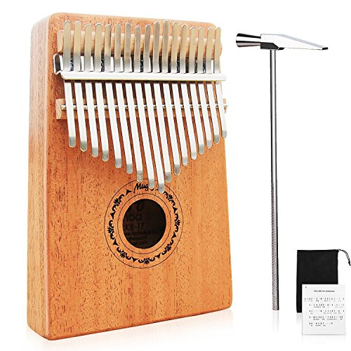 Mugig Kalimba 17 keys with Instruction and Tune Hammer, Portable Thumb Piano Mbira Sanza Mahogany Body Ore Metal Tines