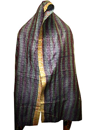 Quilted Multi Circle - Vintage Silk Quilted Kantha Fine Circle Work Stoles Reversible Hijab Scarf 29