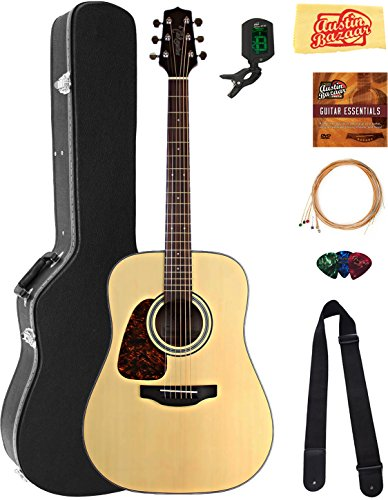 (Takamine GD10LHNS Left-Handed Dreadnought Acoustic Guitar - Natural Satin Bundle with Hard Case, Tuner, Strap, Strings, Picks, Austin Bazaar Instructional DVD, and Polishing Cloth)