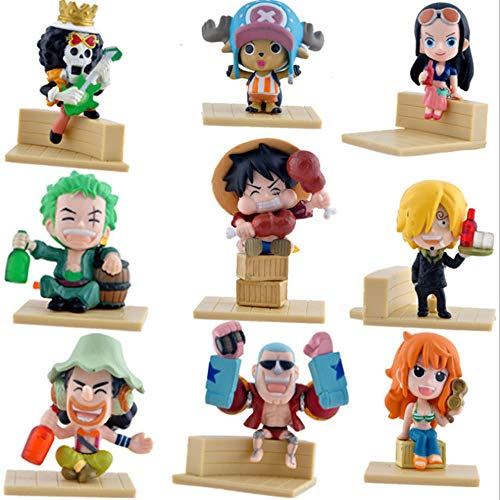 Coz' Place Set of 9 Pieces Mini One Piece Action Figures with Wood-plastic Stands