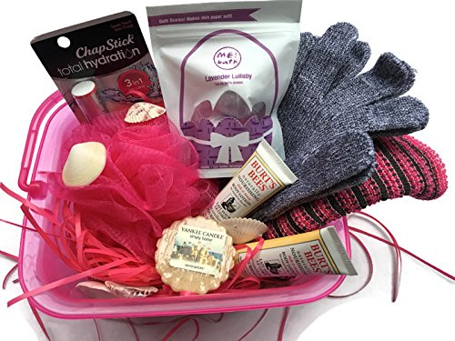 Spa Gift Basket, Includes The Bathery Charcoal Infused Spa Set(2 Shower Gloves,Bath Cloth & Sponge), 3 Tini Me Bath Bombs,2 Burt's Bee Body Lotion, Lip Balm, sea shells, Yankee candle Set