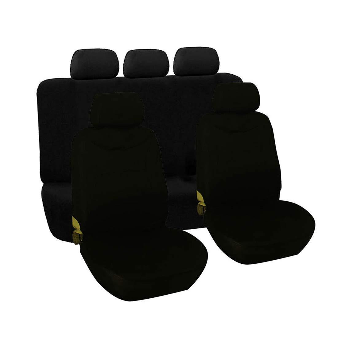 GODGETS Set Copri sedili per Auto Coprisedili Confortevoli Coprisedili Antipioggia Coprisedili Anteriori e Posteriori Universale per Auto,Tutto in Nero,2 Seater Anteriore