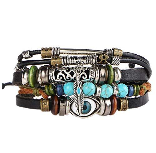 Multilayer Leather Bracelet  Handmade Beaded Bracelet Blue Eye Bracelet Vintage Hollow Carved Bracelet Multicolor