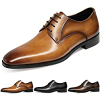 GIFENNSE Men's Handmade Leather Modern Classic Lace up Leather Lined Perforated Dress Oxfords Shoes
