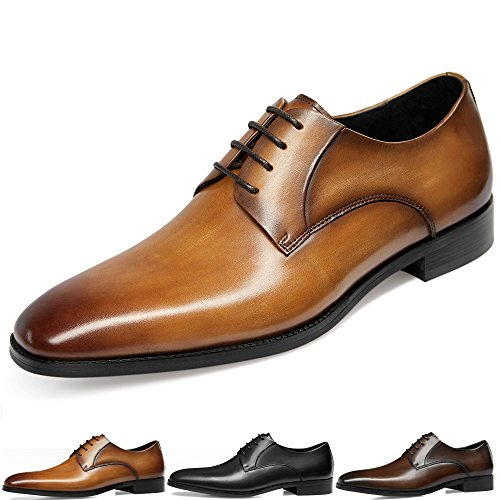 Oxford Leather Shop - GIFENNSE Men's Leather Oxford Dress Shoes Formal Lace up Modern Shoes(9US/Brown