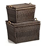 The Basket Lady Lift-off Lid Wicker Storage Basket Nested set of 2 Antique Walnut Brown